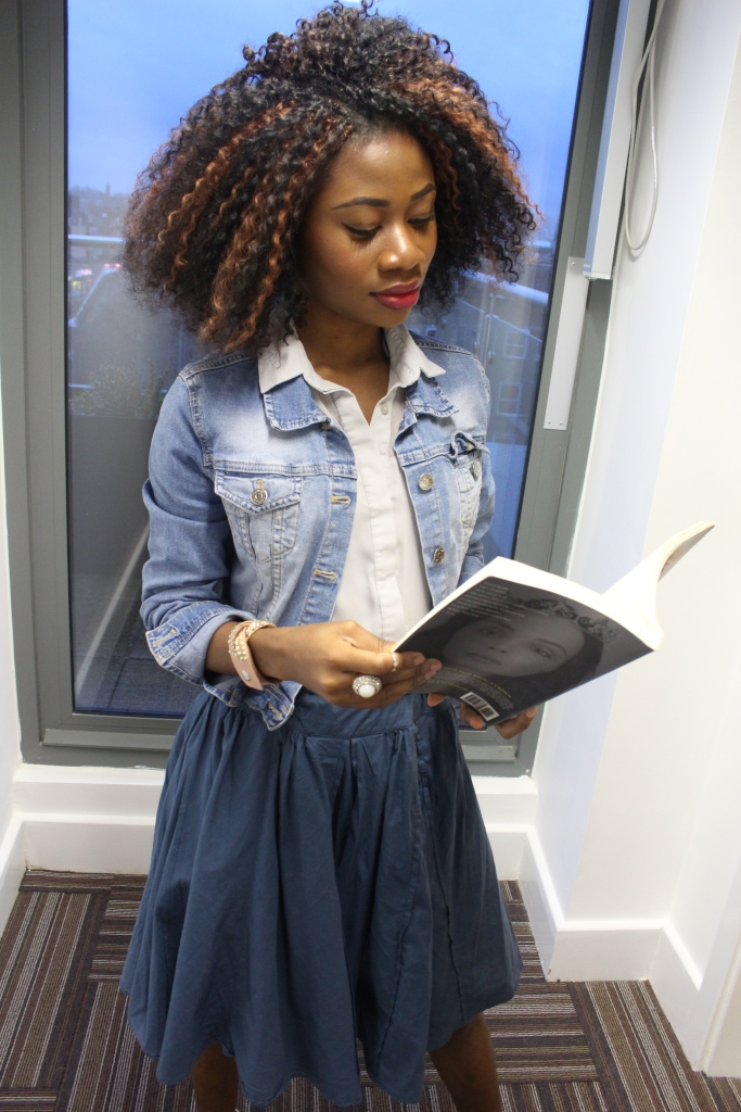 Blue paper bag skirt, washed blue jean jacket, grey blue blouse, white heels,crochet braids, girl reading a book, gentlewoman book,