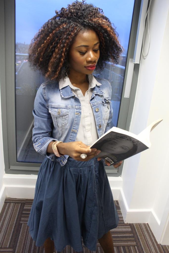 Blue paper bag skirt, washed blue jean jacket, grey blue blouse, white heels,crochet braids, girl reading a book, gentlewoman book,