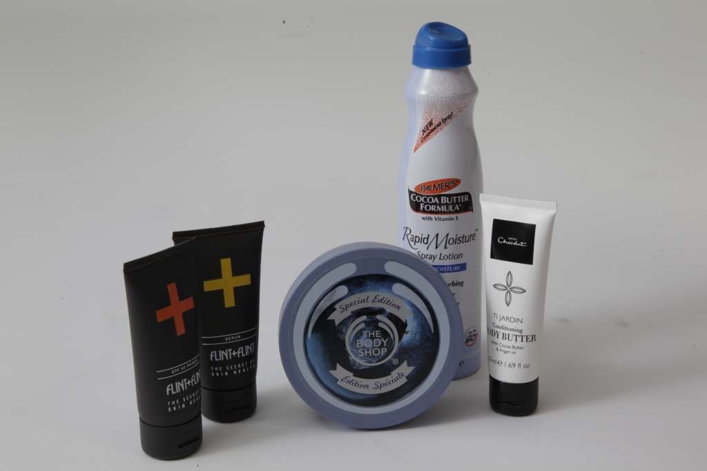 Beauty Products Review - Flint + Flint SPF 30 Primer, Flint + Flint Serum, Palmer's Cocoa Butter Spray lotion,Hotel Chocolat – Ti Jardin Body ButterThe Body Shop – Blueberry Body Butter (Special Edition),