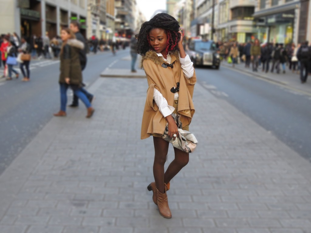 Forever 21 White Shirt, Shirt, Poncho, Tailored shorts, Miss Se;fridge Nude Shorts, Petite Blog, Petite Girl, Oxford Circus, London City, Cowgirl Boots, Brown Boots, Style Blow, Petite Style blog