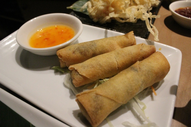 Scaloops and shiitake dumpling, spring roll,