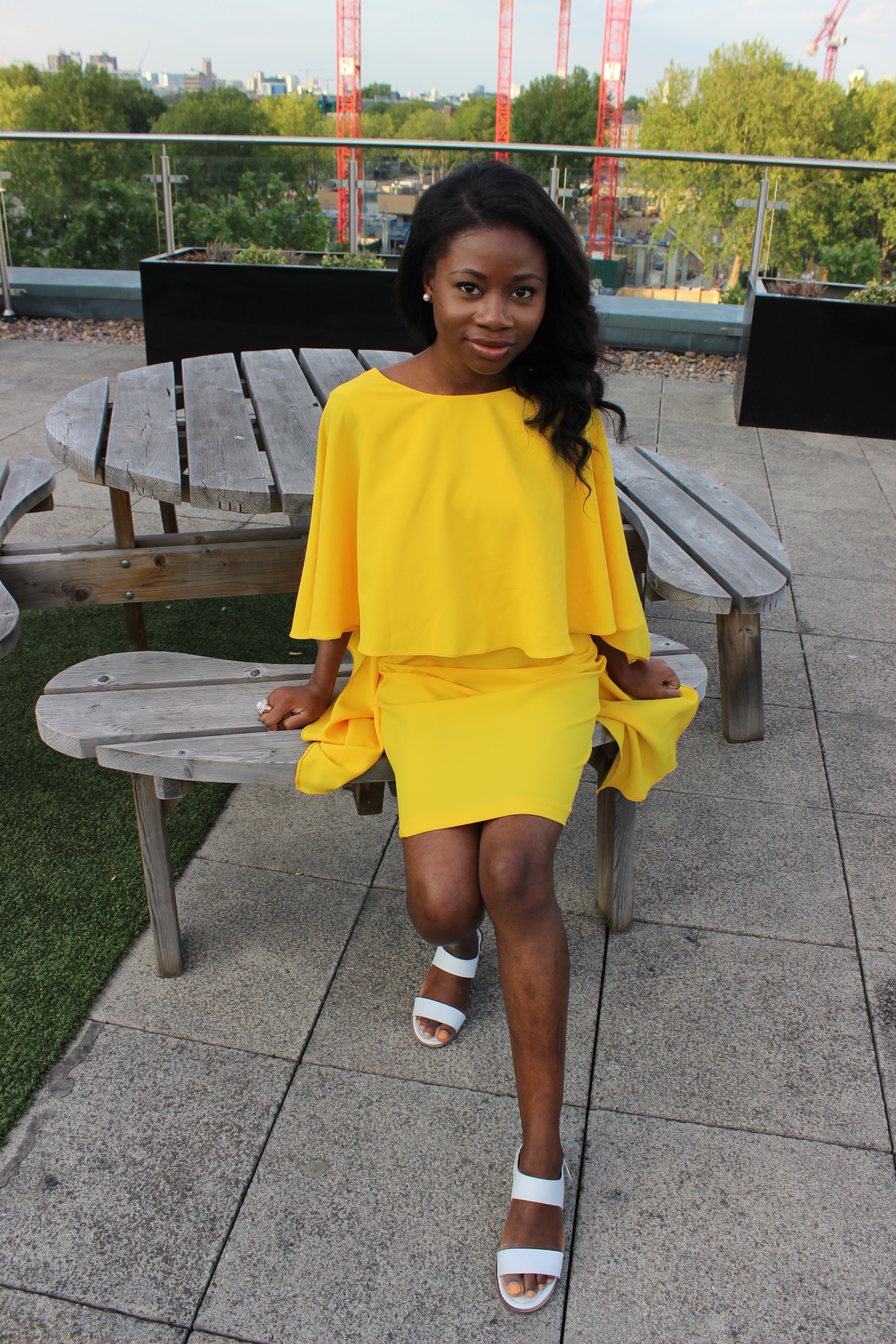 Zara cape dress yellow