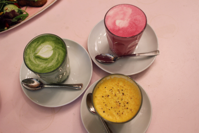 Palm Vault Hackney, Mare Street, Vegan Cafe, Colourful Coffee, Colourfull Lattes, Instagram Perfect, Instagrammable, Avocado Toast, London, London Tour ,