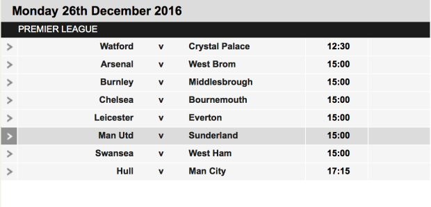 Boxing Day Football Team Matches 2016