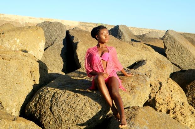 Freya Spirit Beach Tunic Dress, River Island Swimwear, Coral, Pink, Bikini, Coral Bikini on a black girl, Travel, Tourism, Beach, Life's A Beach, Portugal, Algarve, Primark