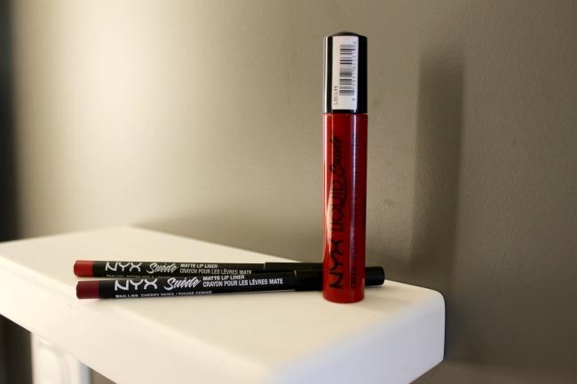 Nyx Liquid Suede Lipstick Kitten Heels, Kitten Heel Lip Liner, Cherry Skies, On Dark Skin Tone, Review,
